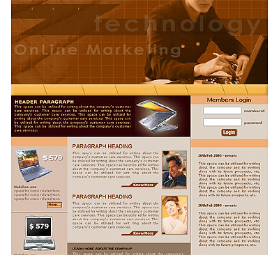 Website Shopping Cart Template - Computers - t-0027
